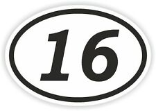 16 SIXTEEN NUMBER OVAL STICKER bumper decal car motocross motorcycle Aufkleber