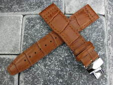 Grain Leather Strap Brown Watch Band Deployment Buckle SET TOP GUN PILOT 21mm