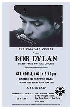 Bob Dylan  New York Carnegie Hall Concert Poster Circa 1961