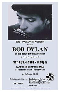 Bob Dylan  New York Carnegie Hall Concert Poster 1961   15x23