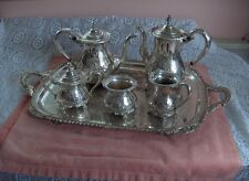 Vintage Amston Fine Silver Plate 7 Pc Coffee Tea Service 2045 Raised Design RARE