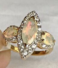 Ethiopian Welo Opal Natural  White Zircon Ring in RhodiuM On Silver size N 1.570