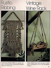 Vintage 1970s Hanging Wine Rack Bottle Holder Pattern #7106 Wired for Macrame