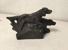 Antique Spelter Clock Topper Statue 2 Dogs Maybe Irish Setters