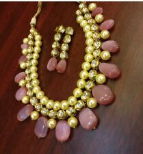 Kundan Indian Bollywood Bridal Pink Pearl Choker Hyderabadi jadao Jewelry Set