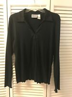 Bill Blass Black Long Sleeve Collared Top Size L