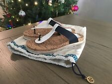Ladies NWOT Tory Burch Blue&White Leather Espadrille Sandals