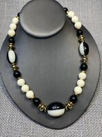 Vintage Lucite Imitation Ivory Gold Accented Black Brown Necklace 18""