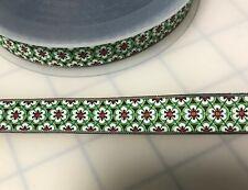"Green Art Deco Floral Jacquard Ribbon Trim 5/8""  -by the yard"