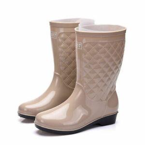 Women's Elastic Mid Calf Rain Boots Waterproof Anti-skid Rubber Shoe Solid Color