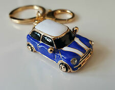 Mini Cooper Style Car Keyring Gift Blue/Red Rhinestone Detail - GRADE B
