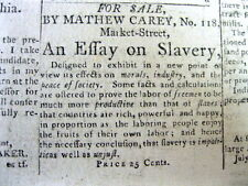 1794 newspaper w front page ad for a book with an ESSAY on the EVILS of SLAVERY