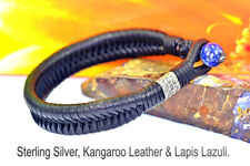 1B-072 HANDMADE Genuine Kangaroo Leather Lapis Lazuli Wristband Men Bracelet