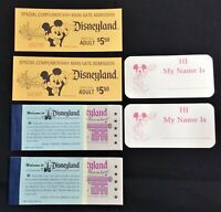 Disneyland Admission Tickets  Adventure Ride Booklets Unused 1975 Name Stickers