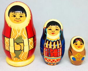 "Signed Russian 3-Piece 3.75"" Matryoshka Nesting Doll Eskimo SET"