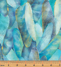 Gilded Wings AquaMarine-Dance of the Dragon Fly Cotton quilting Fabric BT 1/2 Yd