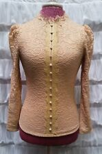 Victorian Trading Co Fleece Lined Button Up Stretch Lace Blouse Pink Ivory S