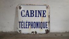 Antique French Enamel Sign French Public Sign Industrial Cabine Telephonique