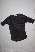 Girls Shirt BLACK GRAY STRIPE V NECK Knit Dress Top HI-LOW Sleeve Bands XL 14-16