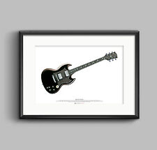 Angus Young's Gibson SG guitar ART POSTER A2 size