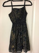 Abercrombie and Fitch Spaghetti Strap Navy and Gold Dress Extra Small XS - NWT