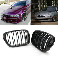 For BMW E39 5-Series 525 528 95-04 Gloss Black Double Slat Front Kidney Grilles