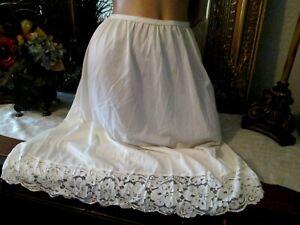 "vtg Roamans ivory nylon lots of lace half slip petticoat lingerie 32-52"" waist"