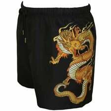 Versace Golden Dragon Print Men's Swim Shorts, Black/gold