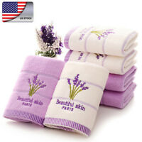 US Aromatherapy Soft Bath Towel Embroidery Lavender Towel Cotton Hand Face Towel