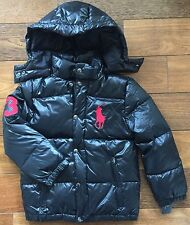POLO RALPH LAUREN $175 Boys Down Puffer Jacket Hooded Black Big Pony Red 10-12