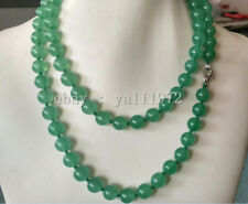 natural 10MM light green jade round Gemstone necklace 34inch AAA