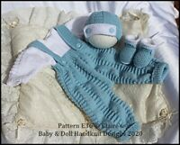 "KNITTING PATTERN E36 ALL IN ONE DUNGAREE SET REBORN DOLL 16-22"" OR PREM-3M+ BABY"