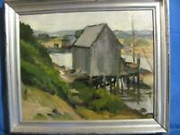 "Vintage Oil Painting Martha's Vineyard ""Menemsha Harbor"" Lobster Shack & Boat"