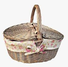 Antique Wash Finish Wicker Willow Oval Picnic With Garden Rose Lining