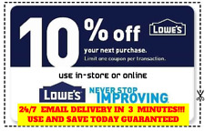 TWO (2x) Lowes 10% OFF Coupons Discount -Instore and online - Fast Fast Delivery