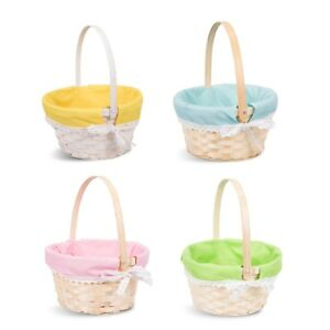 Wicker Basket Kid Child Party Flower Craft Easter Egg Hunt  New Born Gift Basket