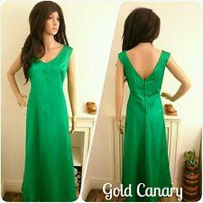 Vintage Gina Gaye 50s 60s Green Satin Cocktail Evening Maxi Dress 12 14 40