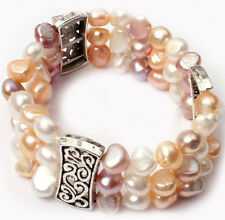 New Women's Natural White Pink Purple 8-9mm Freshwater Pearl Stretch Bracelet