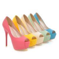 Womens Stiletto Very High Heel Platform Sandals Slip On Peep Toe Shoes Elegant