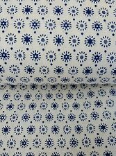"""VINTAGE FLORAL RETRO BABY NAVY CREAM  COTTON LINEN fabric 60"""" sold by the metre"""