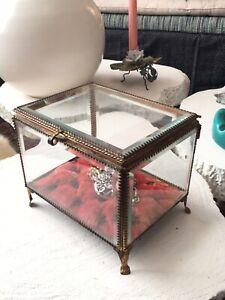 Gde Boîte A Bijoux Ancienne Verre Biseauté Nap III Antique Victorian Jewel Box