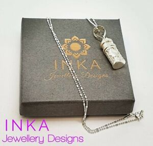 """Inka 16"""" 925 Sterling Silver Ball Bead Necklace with Sterling Prayerbox Locket"""