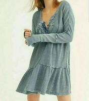 Free People Casual Jolene Mini Dress Blue with long sleeve- Size XSmall