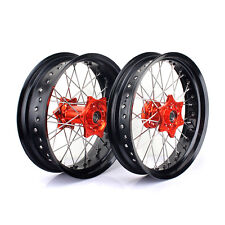"17"" Supermoto Wheel Set Orange Hub KTM SX SXF SXS EXC 125 250 350 450 530 03-14"