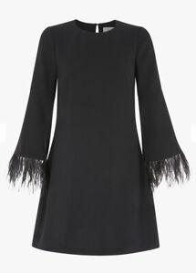 Coast Feather Trim Dress Uk 8 - Worn Once