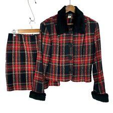 Vintage Mark Farrel NY women's sz 11/12 Red Plaid Skirt Suit Faux Fur Trim