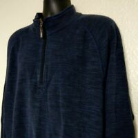 Tommy Bahama Jeans Men's 2XL Pullover Sweatshirt Reversable 1/4 Zip L/S Blue EUC