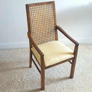 Vintage LANE Walnut/Cane Back Dining Armchair Reupholstered Lovely New Fabric !