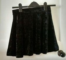 Topshop Petite Black Velvet Flippy Skater Skirt Size 4