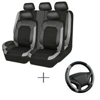 Universal Black Grey Leather Mesh Car Seat Cover Steering Wheel Cover Breathable
